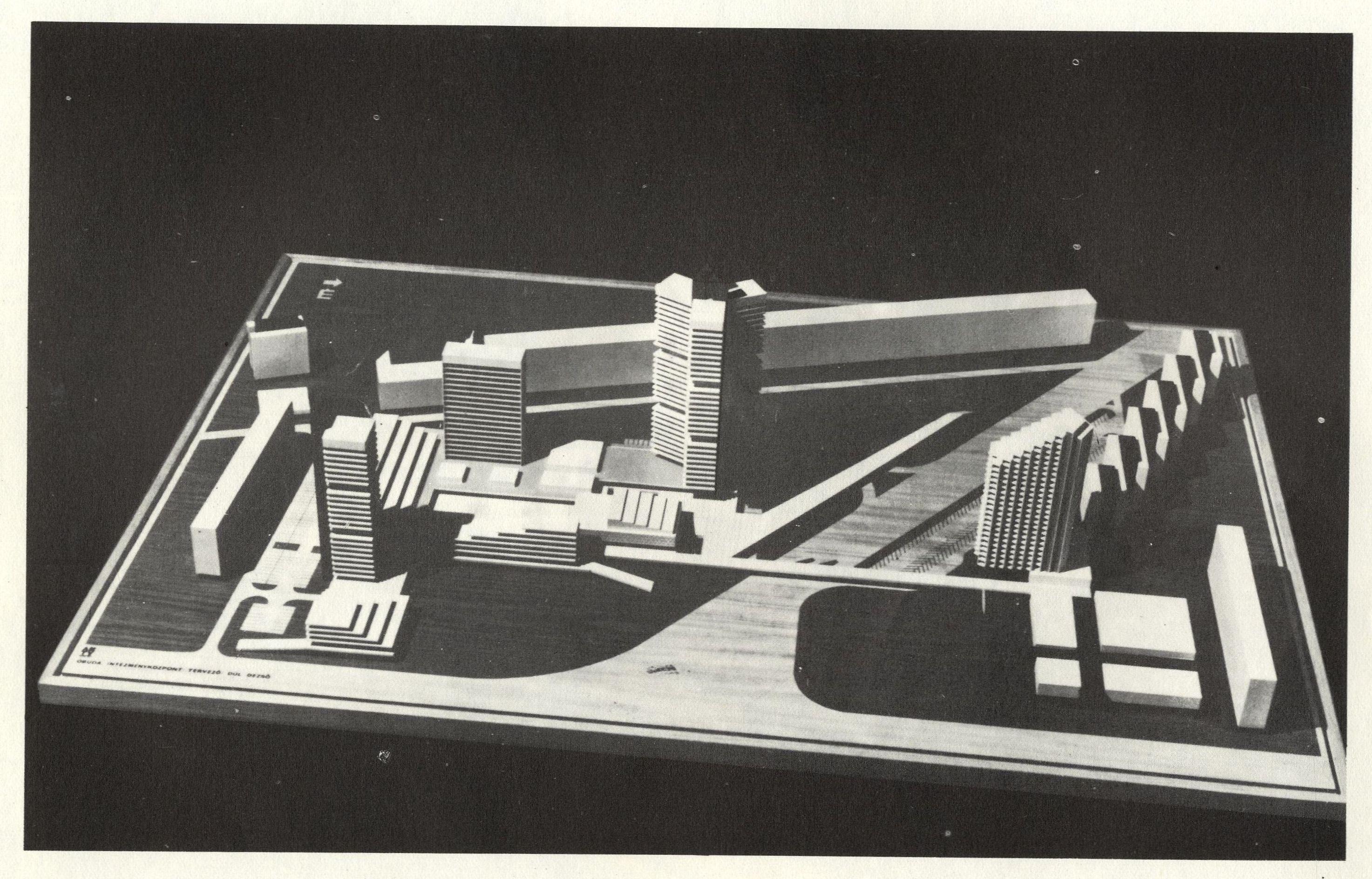 A tervezett óbudai intézményközpont a Flórián tér felől 1970. F Forrás: Kiscelli Építészeti Gyűjtemény